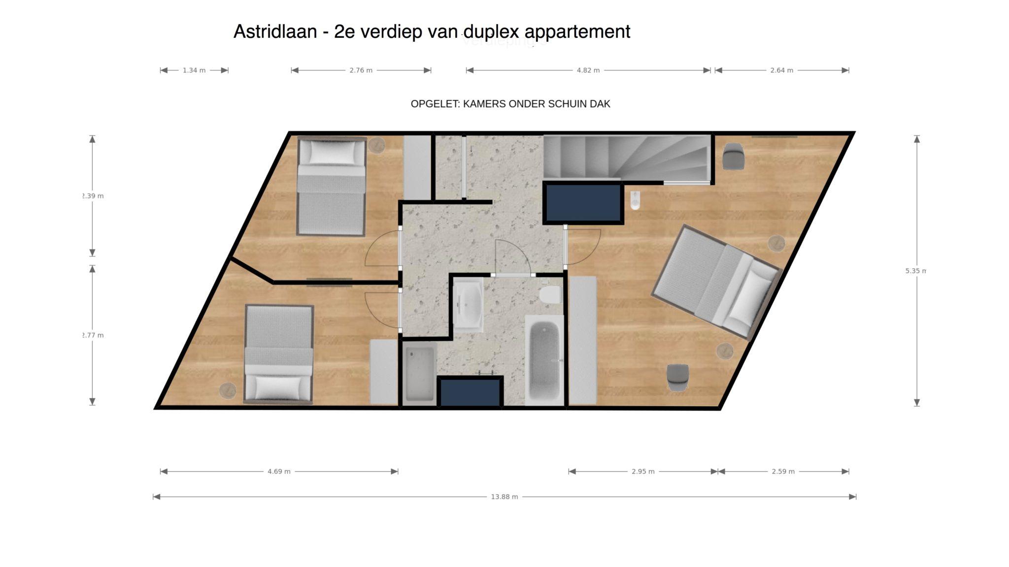 Astridlaan duplex 2e verdiep 2D plan