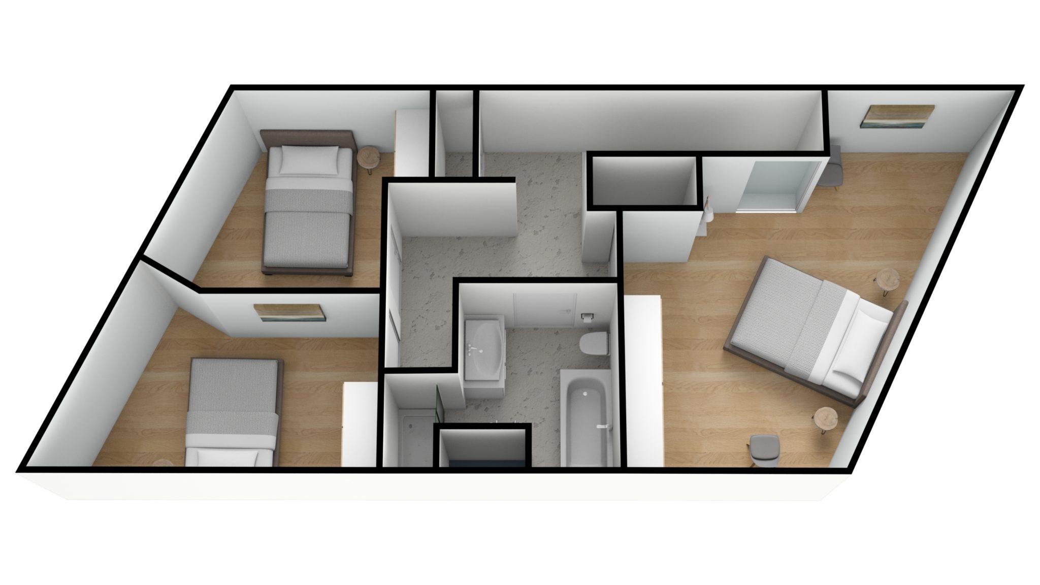 Astridlaan duplex 2e verdiep 3D TILTED