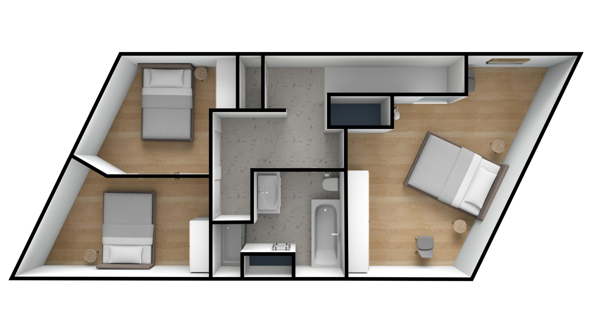 Astridlaan duplex 2e verdiep 3D TOP