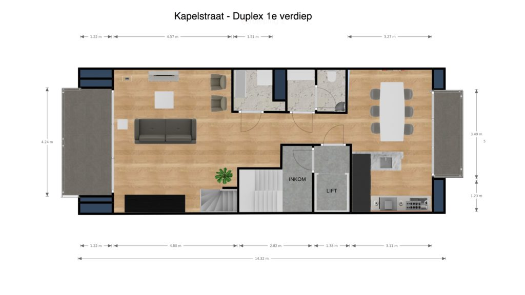 Kapelstraat duplex 1e verdiep 2D plan