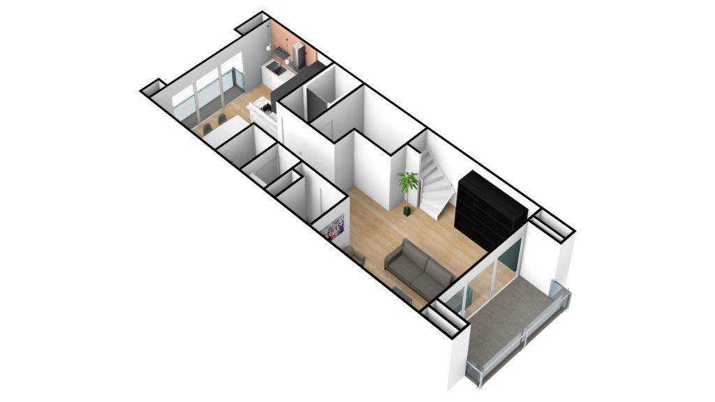 Kapelstraat duplex 1e verdiep 3D NW