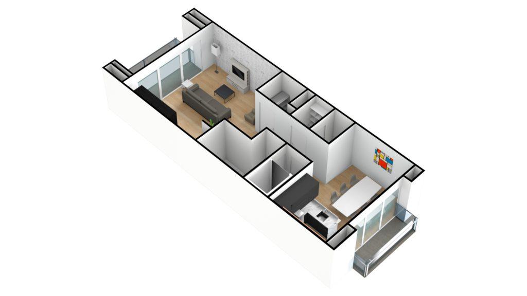 Kapelstraat duplex 1e verdiep 3D SE